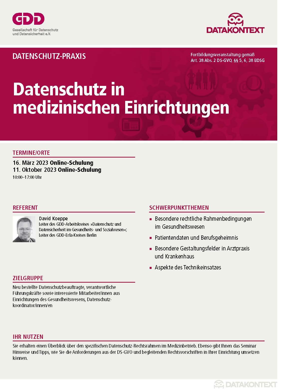 Datenschutz in medizinischen Einrichtungen