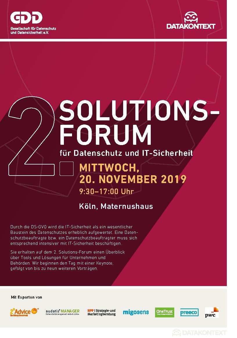 2. Solutions-Forum für Datenschutz und IT-Sicherheit