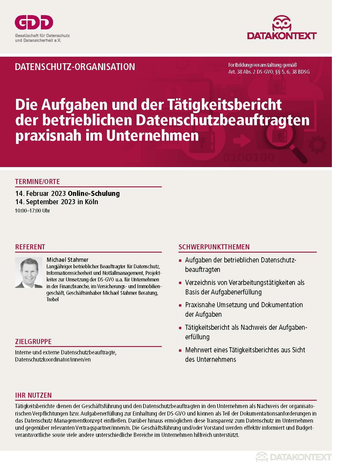 Die Aufgaben und der Tätigkeitsbericht des betrieblichen DSB praxisnah im Unternehmen