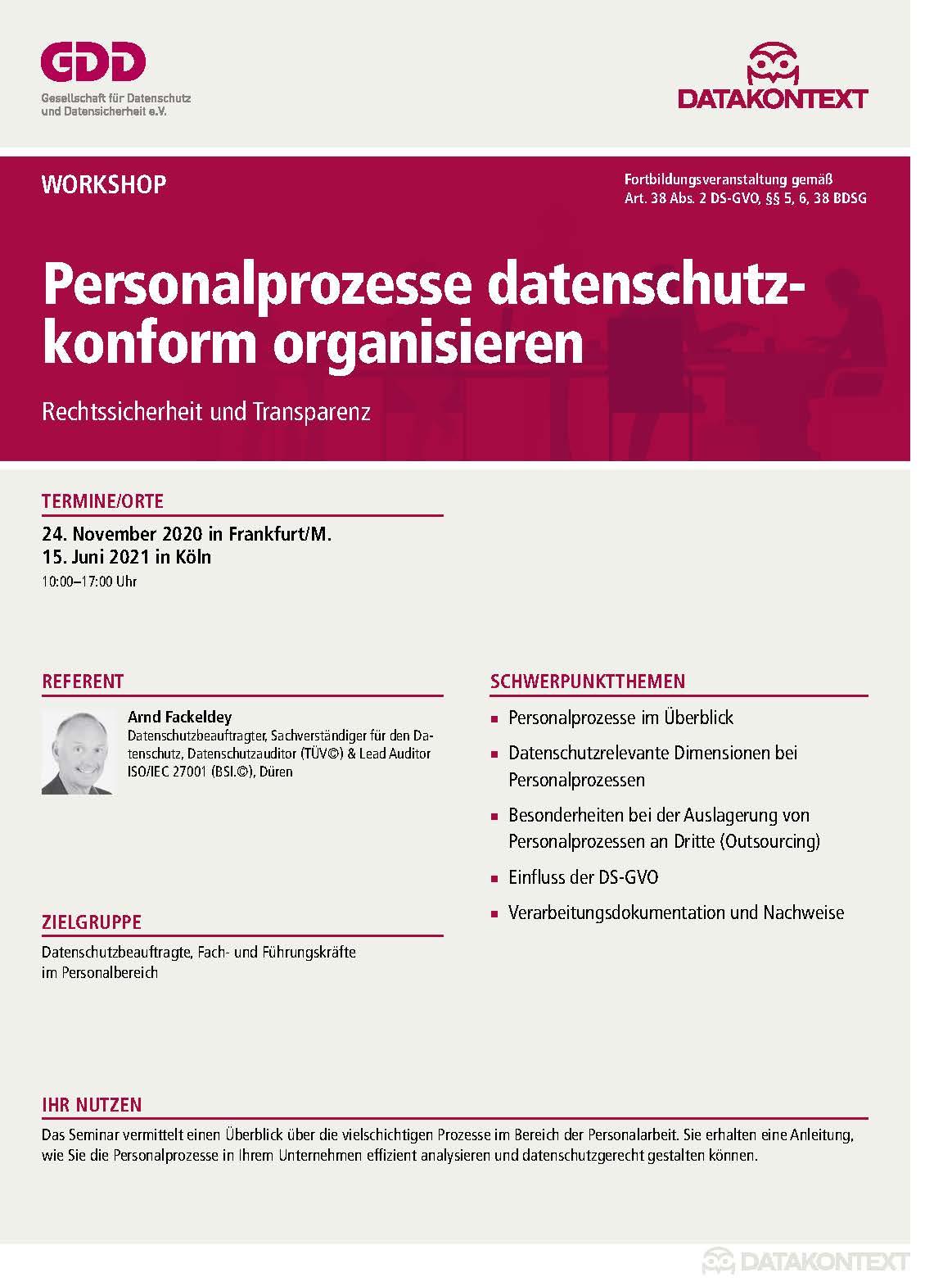 Personalprozesse datenschutzkonform organisieren