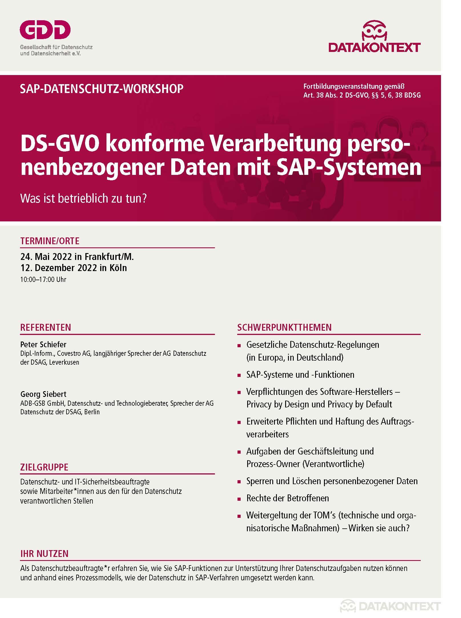 DS-GVO konforme Verarbeitung personenbezogener Daten mit SAP-Systemen