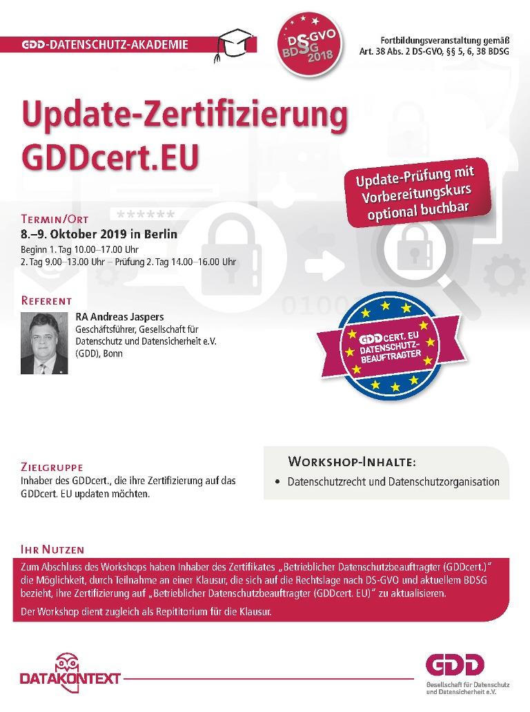 Update-Zertifizierung GDDcert.EU