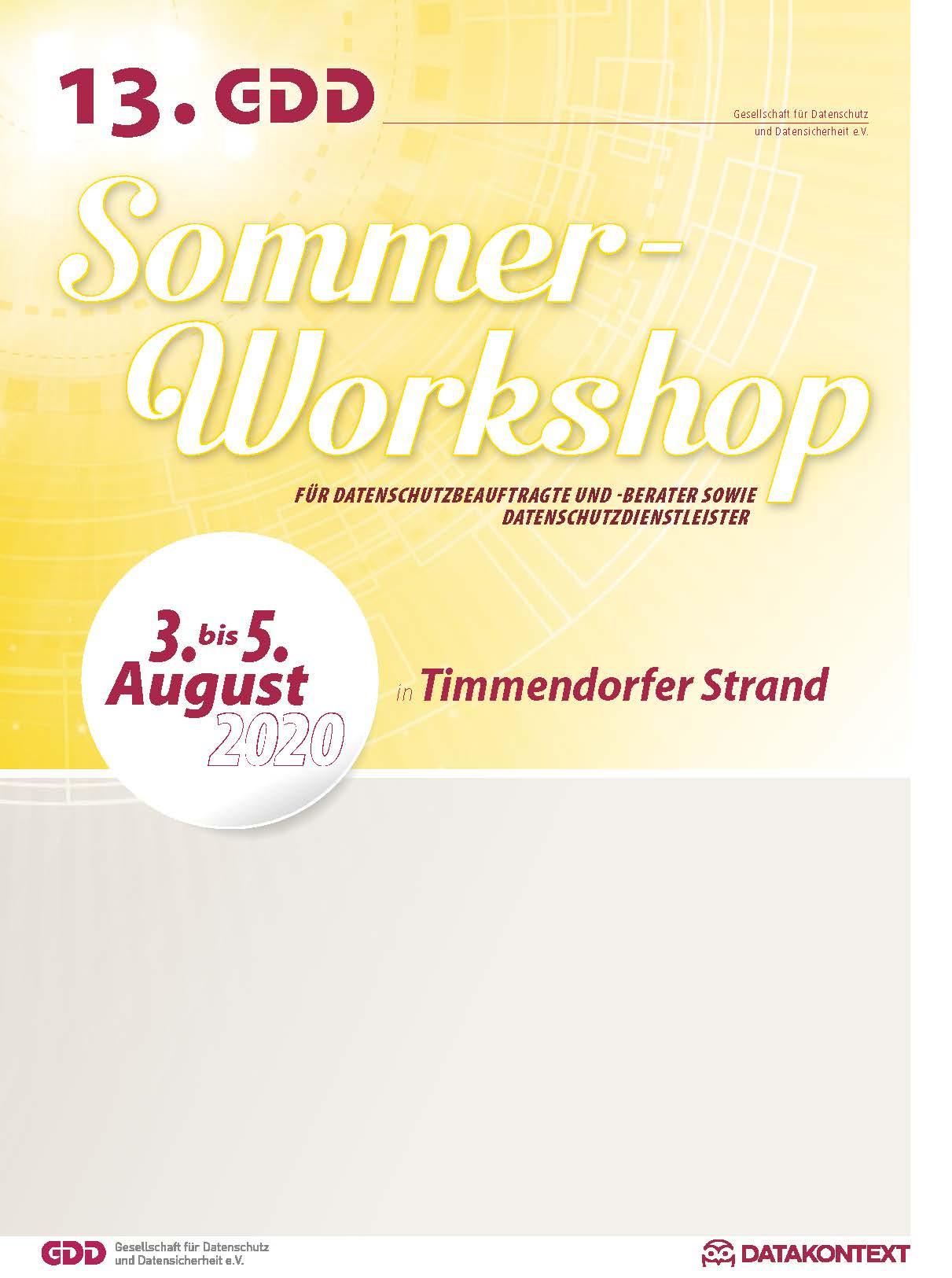11. GDD-Sommer-Workshop für Datenschutzbeauftragte und -berater sowie Datenschutzdienstleister
