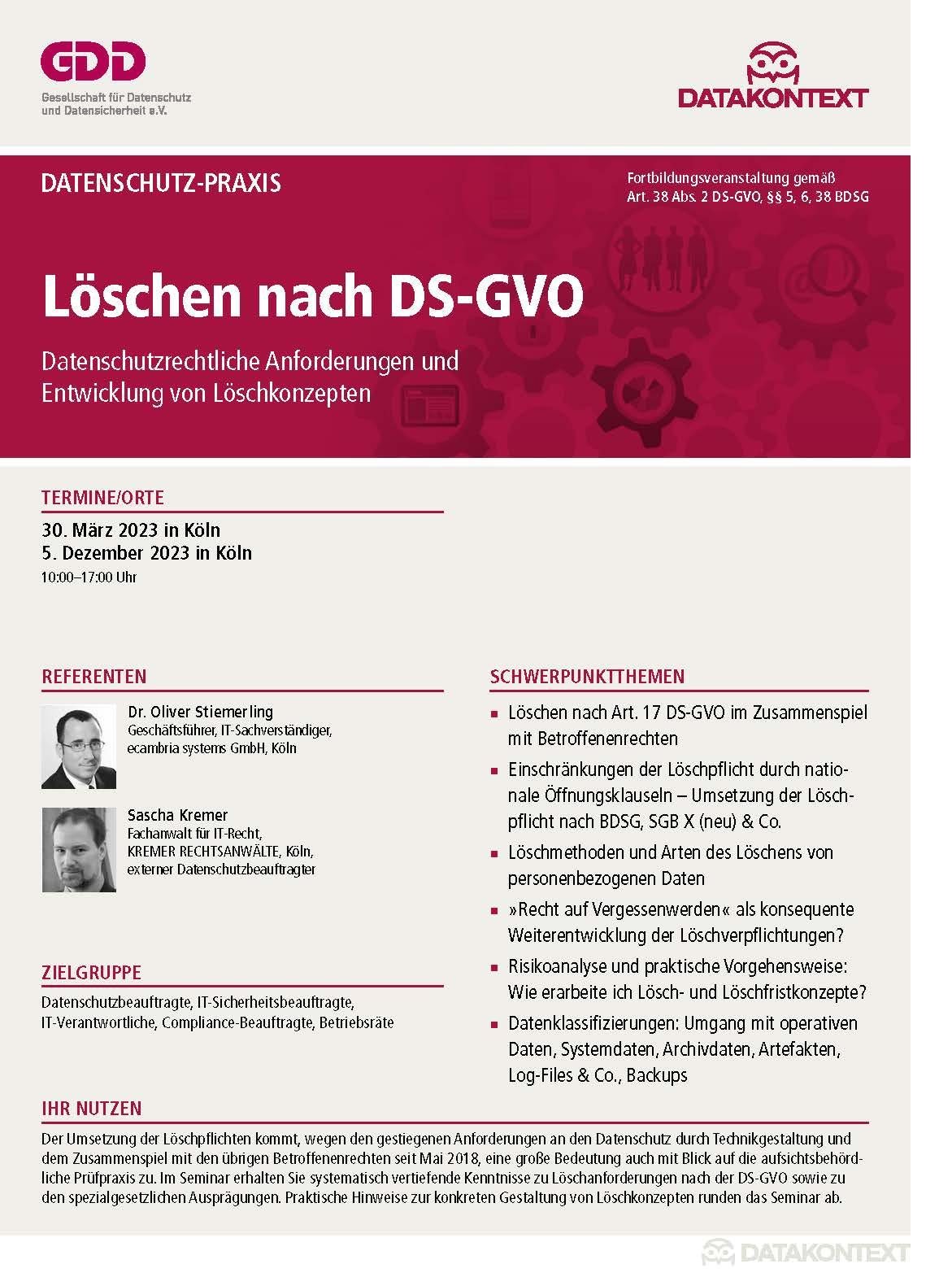 Löschen nach DS-GVO