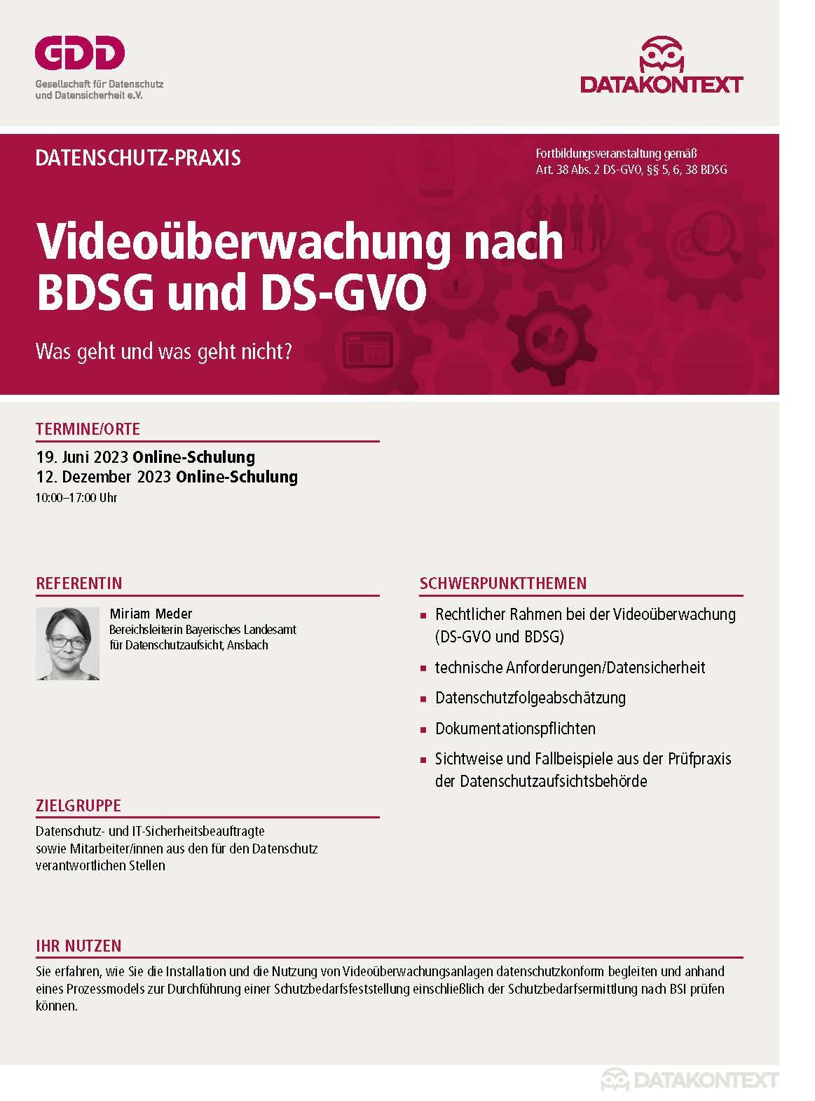 Videoüberwachung nach neuem BDSG und DS-GVO