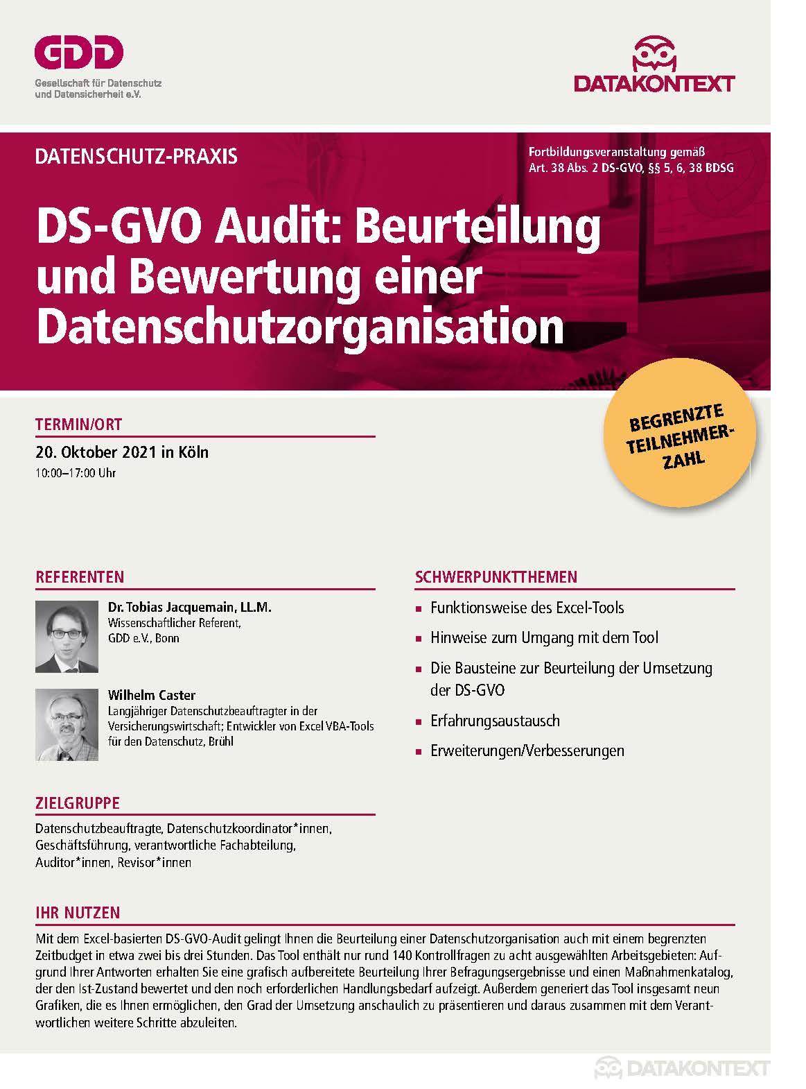 DS-GVO Audit: Beurteilung und Bewertung einer Datenschutzorganisation