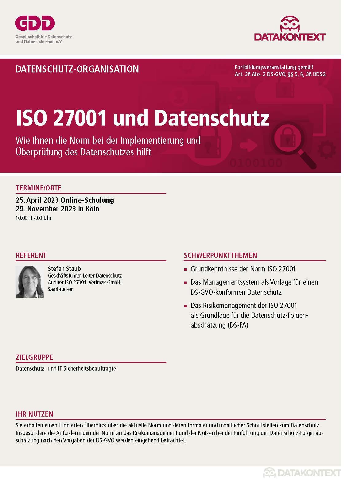 ISO 27001 und Datenschutz