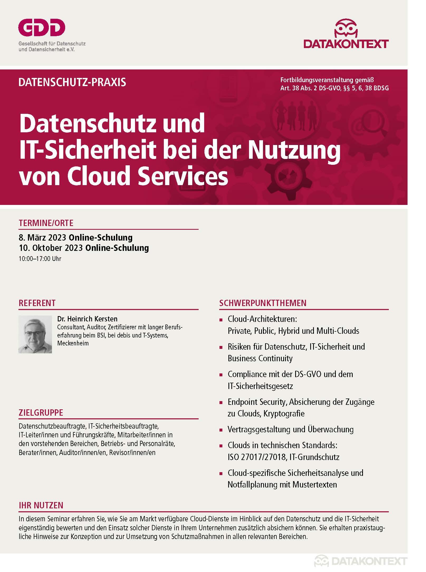 Datenschutz und IT-Sicherheit bei der Nutzung von Cloud Services