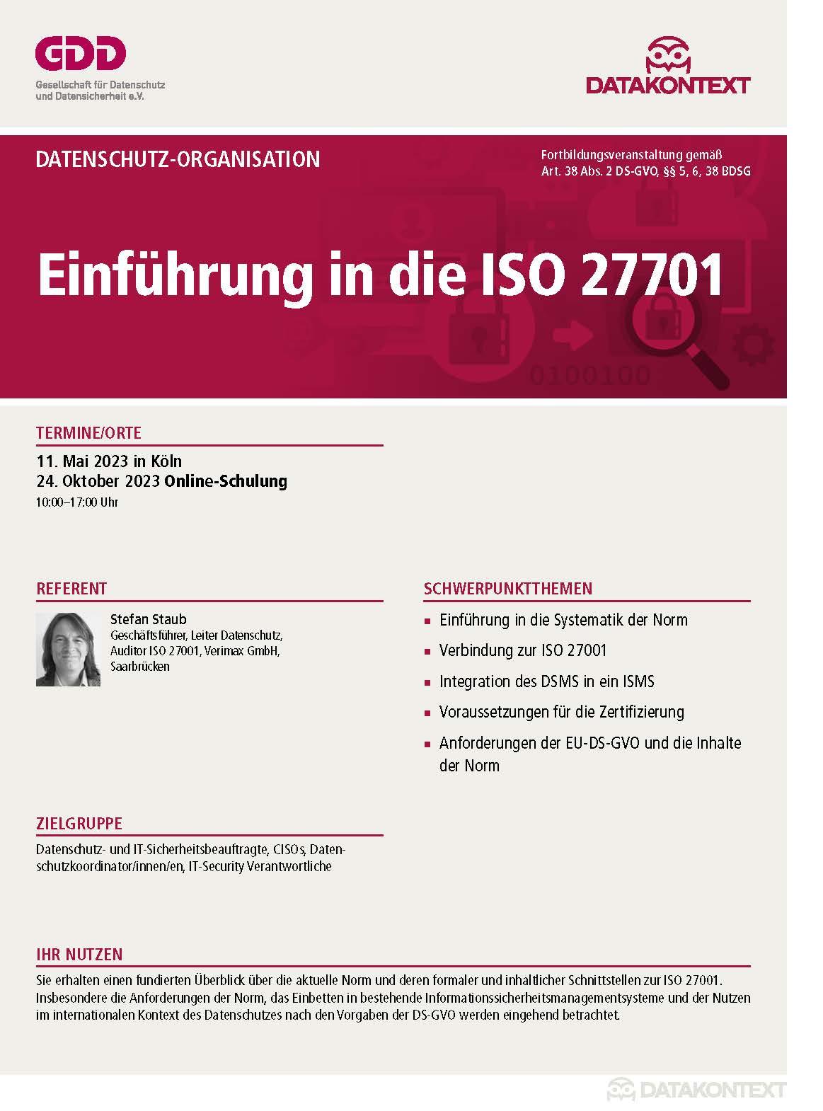 Einführung in die ISO27701