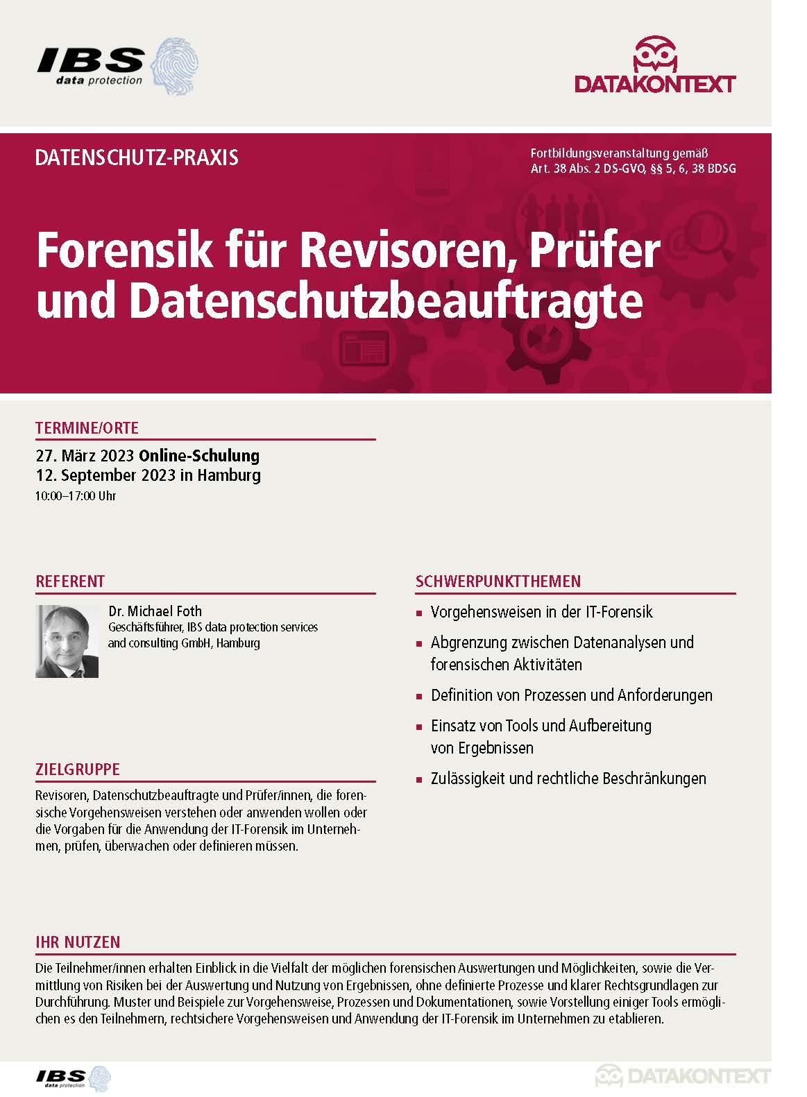 Forensik für Revisoren, Prüfer und Datenschutzbeauftragte