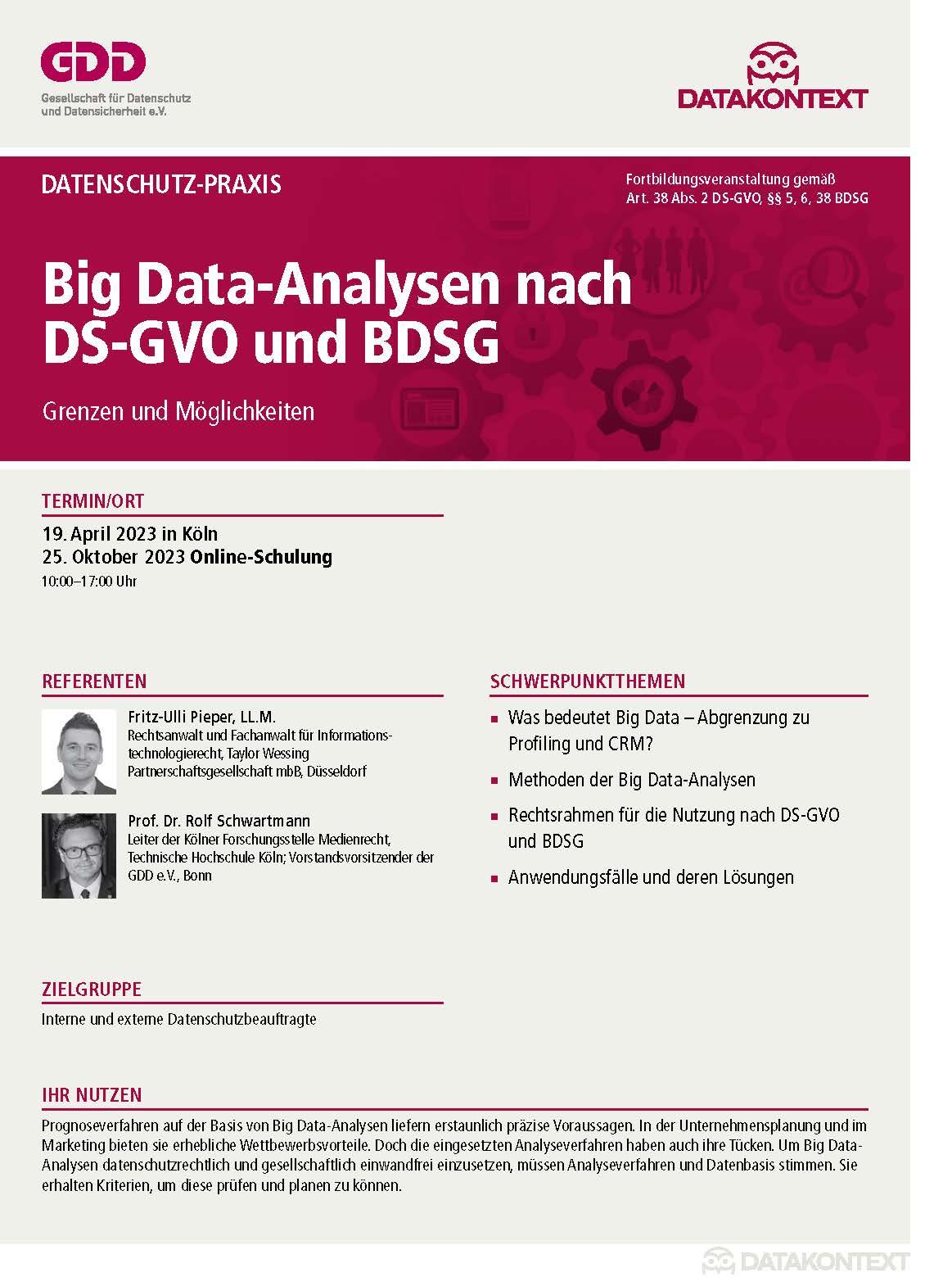 Big Data-Analysen nach DS-GVO und BDSG