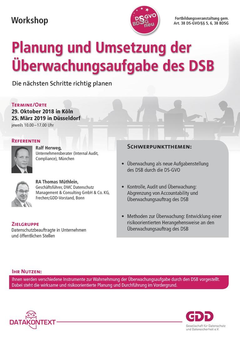 Planung und Umsetzung der Überwachungsaufgabe des DSB